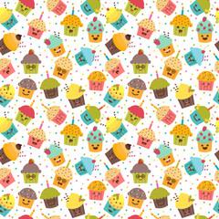 Birthday background. Kawaii cupcakes. Seamless pattern with cupc