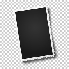 Realistic vector retro photo frame with figured edges