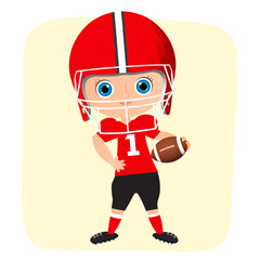 Young Boy. Kid playing American football. Vector illustration eps 10 isolated on white background. Flat cartoon style.