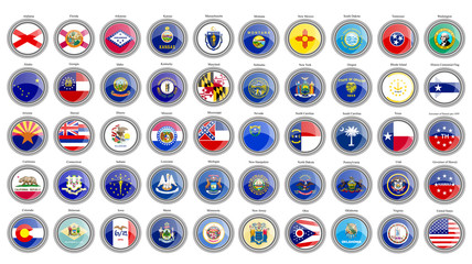 Set of icons. States of the USA flags.