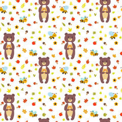 Seamless pattern with funny bears and bees. Cute children backgr