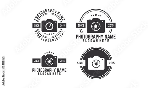 quotset of photography camera vintage logoquot stock image and