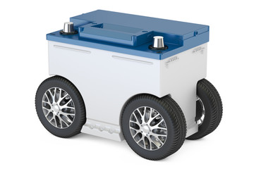 Electric car concept, auto battery with wheels, 3D rendering