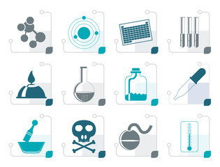Stylized Chemistry industry icons - vector icon set