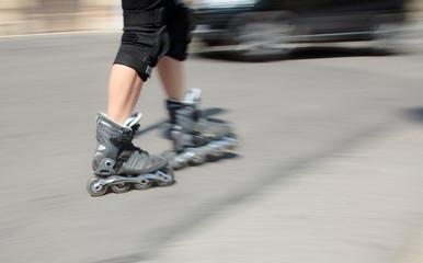 Mature Woman Rollerblading