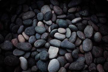 Grey, blue, gold wee pebbles background, South Miami Beach, Florida, USA