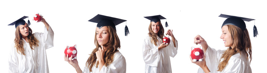Student and piggy bank on white