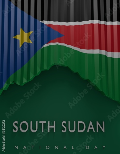 flag south sudanese colors south sudan flag 3d render stock