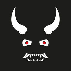 Vector illustration of a japanese demon mask with big horns laughing in the dark