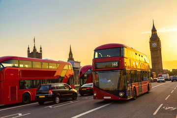 Foto auf Leinwand London roten bus Big Ben, Westminster Bridge, red bus in London