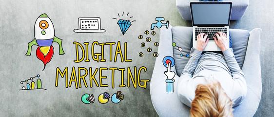 Digital Marketing text with man