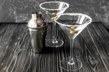 martini cocktail at wooden background close up