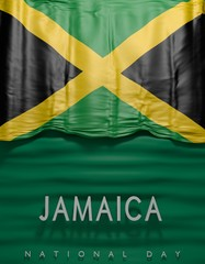 Flag Jamaican Colors, Jamaica Flag (3D Render)