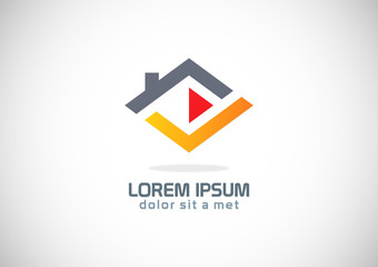 roof home abstract shape company logo