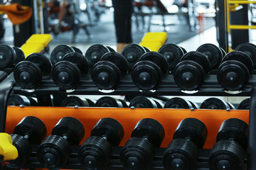 Rack with different dumbbells in gym