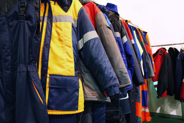 Work clothes on hangers, closeup