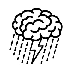 Brain brainstorm / brainstorming with lightning bolt and rain line art vector icon for apps and websites