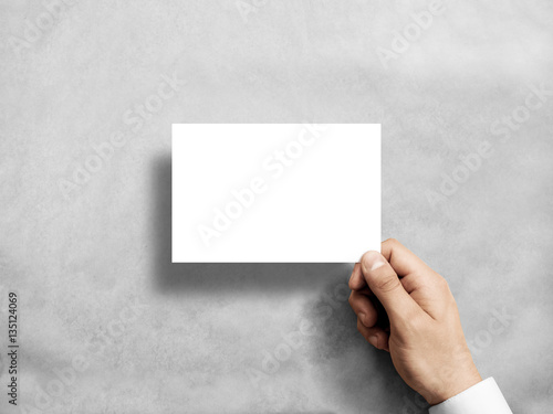 hand holding blank white postcard flyer mockup. 6 x 4 leaflet mock, Presentation templates