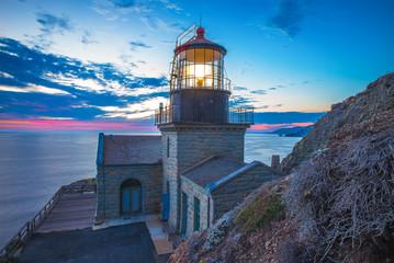 Big Sur.  Point Sur lighthouse at sunset.