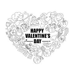 Valentine icon set, freehand drawing illustration