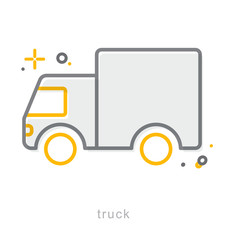 Thin line icons, Truck