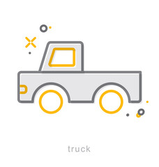 Thin line icons, Truck2