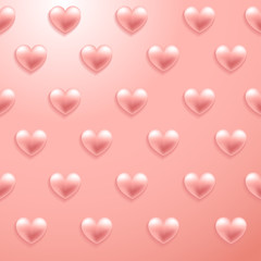 Happy Valentines Day Elements : Realistic Valentine Hearts on Background : Vector Illustration