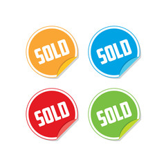 Colorful Sold Sticker Labels