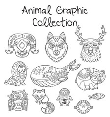 Animal graphic collection in line