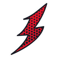 colorful comic style lightning dotted vector illustration