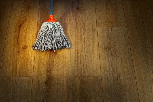 wet mop on wooden floor