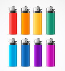 Realistic Template Blank Color Lighter Set. Vector
