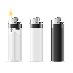 Realistic Template Blank Lighter Set. Vector