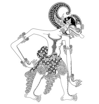 Jembawan, a character of traditional puppet show, wayang kulit from java indonesia.