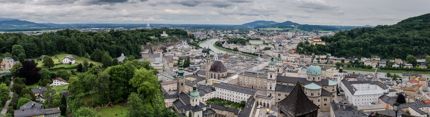 Large panoramic view of the historic city of Salzburg. Austria