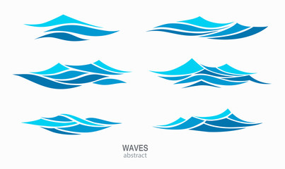 Set marine pattern with stylized blue waves