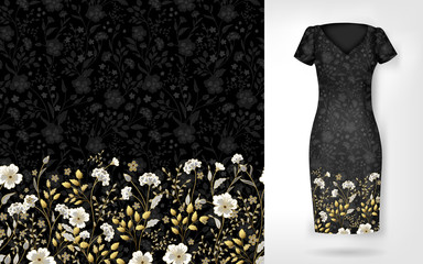 Cute pattern in small simple flowers. Seamless background and seamless border on different file layers. An example of the pattern of the dress mock up. Vector illustration