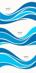 Set marine pattern with stylized blue waves on a light backgroun