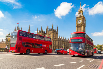 Photo on textile frame London red bus Big Ben, Westminster Bridge, red bus in London