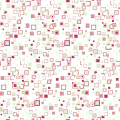 Soft geometric seamless pattern. The multicolored squares of different sizes, arranged in random order on white background. Useful as design element for texture and artistic compositions.