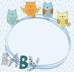 Cute hand drawn frame with cartoon owl