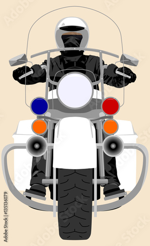 White classic police patrol heavy motorcycle with clear