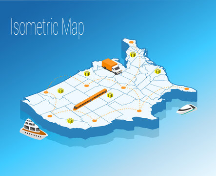 Map America isometric concept.