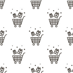 Outlined shopping basket with gift boxes, sale, retail seamless pattern background.