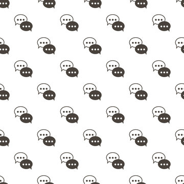 Outlined monochrome speech bubbles, chat messages seamless pattern background.