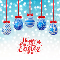 Blue Easter eggs on shiny background