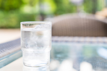 a glass of water on table