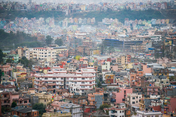 sky view of the city in Kathmandu town , Nepal