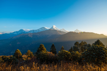 Nepal - 26 December 2016 :: Poon Hill view point for see snow mountain in Nepal , Annapurna range