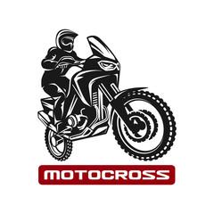 Motocross race enduro motorbike driver logo monochrome illustration